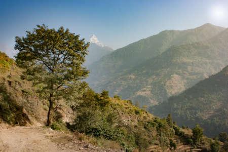 Panoramic view  of the Machapuchare on the Annapurna Base Camp Trek, Nepal
