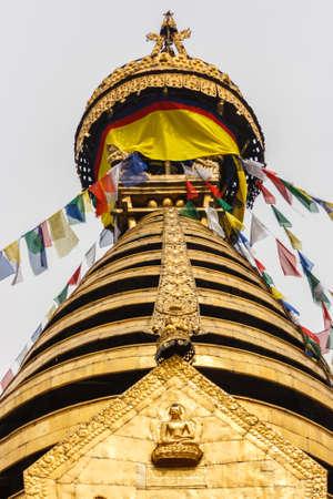 The golden stupa of the Swayambu nath Temple, Kathmandu, Nepal