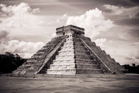 Black and white view of Kukulkan Pyramid (el Castillo) at the archaeological site of Chichen Itza, Yucatan, Mexico