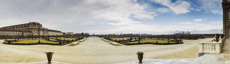 Panoramic view of Venaria Reale gardens, Turin, Italy Stock Photo