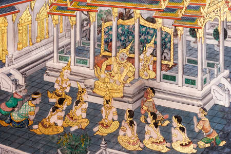 Details of the wall paintings depicting the myth of Ramakien in the Wat Phra Kaew Palace, also known as the Emerald Buddha Temple. Bangkok, Thailand. 에디토리얼