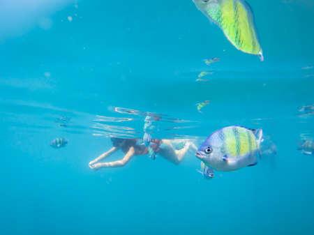 Tourist snorkelling in Ko Lanta, Thailand