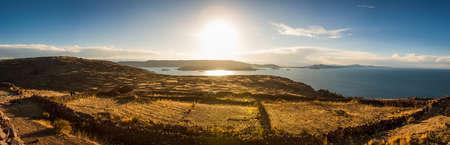 Panorama of sunset from the Pachamama temple, Amantani Island, Titicaca lake, Peru