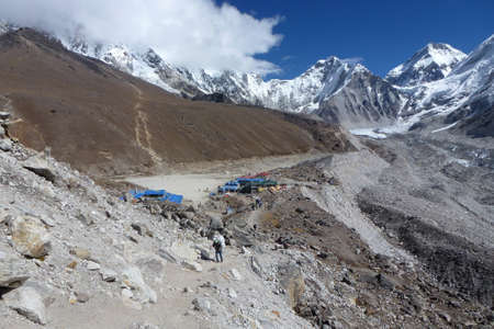 Scenic view of Gorak shep village with blue sky and big clouds, Everest Base Camp trek, Nepal