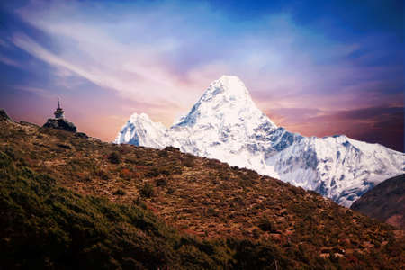 View of Mount pumori and a stupa in Dingboche, Everest Base Camp trek, Nepal