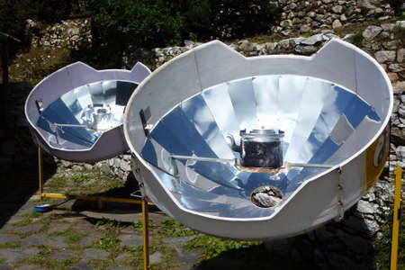 Picture of a parabolic solar heaters for hot water, Pangboche, Everest Base Camp trek, Nepal