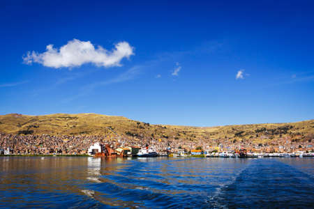 Panoramic view of Puno from the Titicaca lake, Peru