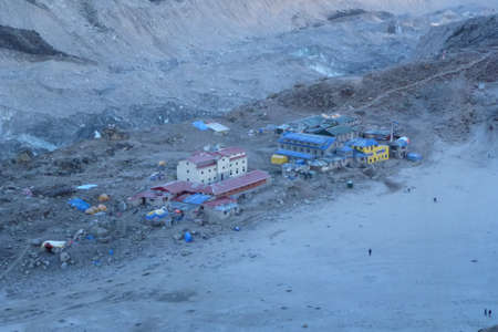 View of Gorak Shep at dawn from Kala Patthar, Gorak Shep, Everest Base Camp trek, Nepal