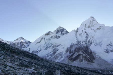 Scenic view of Mount Everest summit at dawn from Kala Patthar, Gorak Shep, Everest Base Camp trek, Nepal Stock Photo