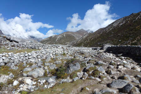 Panoramic view of the Periche Valley with blue sky and clouds, Everest Base Camp trek, Nepal