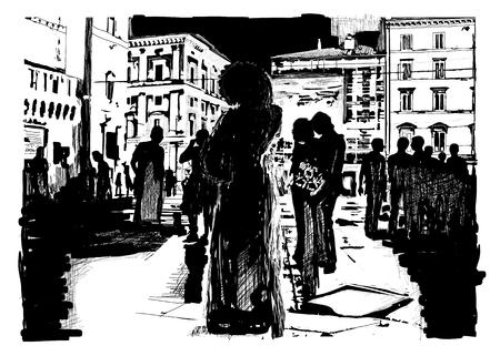 People in Italian square Illusztráció