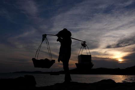 ful: Asian vendors at sunset