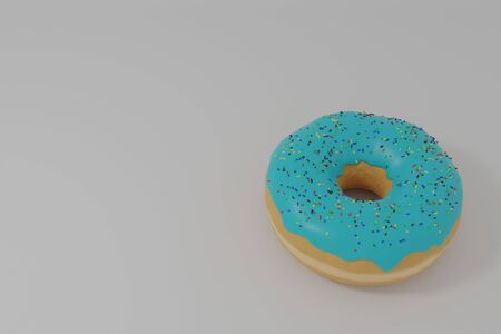 3d illustration of a donut with heavenly icing on a white background Banco de Imagens