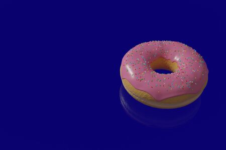 3d illustration of a donut with pink icing on a blue background