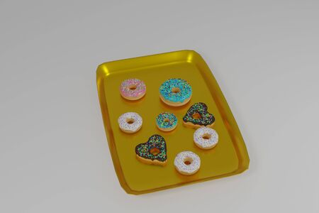 3d illustration of a tray with donuts on a white background Banco de Imagens