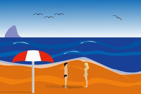 Beach holidays with Covid-19 virus precautions.Vector illustration