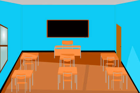 School: illustration of an empty classroom seen from inside