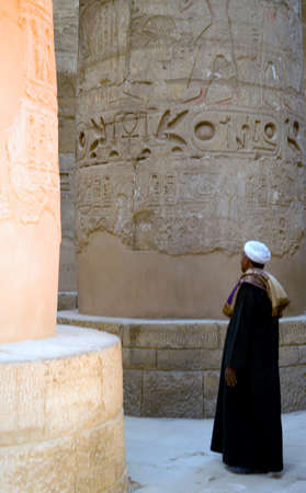 overseer: Luxor, Egypt - December 13, 2005: A local overseer in the Karnak temple dedicated to the god Amun-Ra