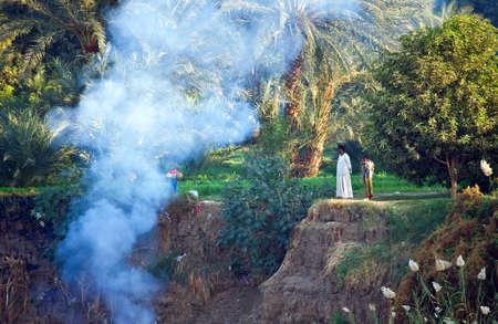 the nile: Kom Ombo, Egypt - December 15, 2005: Life on the bamks scenes of the Nile river