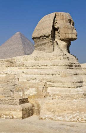 esfinge: Egipto, sitio arqueol�gico de Giza, la esfinge Foto de archivo