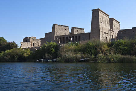 nile river: Egypt, Aswan, view of the Philae temple on the Nile river
