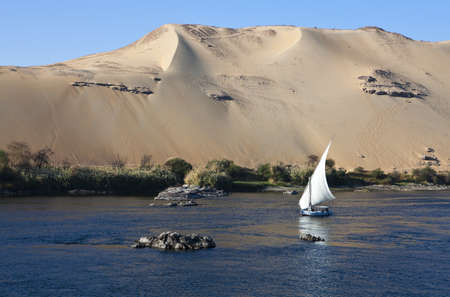 Egypt, Aswan, felucas on the Nile river