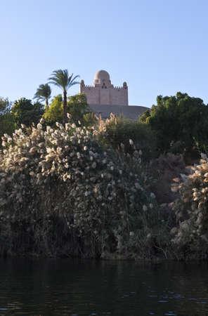 the nile: Egypt, Aswan,the Agha Khan mausoleum on the Nile river