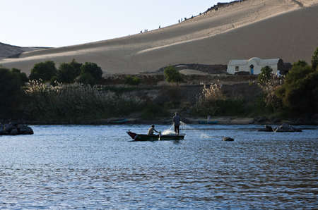 Egypt, Aswan,fishermen on the Nile river