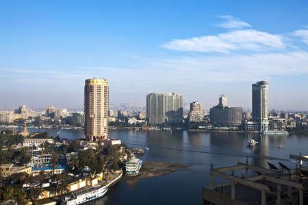 Egypte, Cairo, uitzicht op de stad vanaf de rivier de Nijl Stockfoto