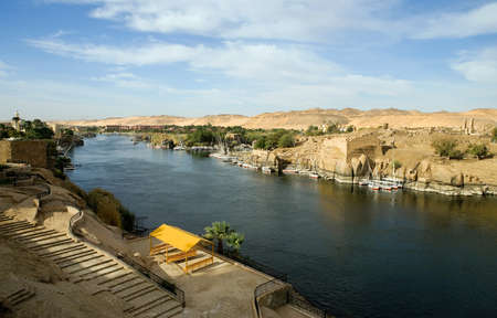 nile river: Egypt, Aswan,  the Nile river seen from the town Stock Photo