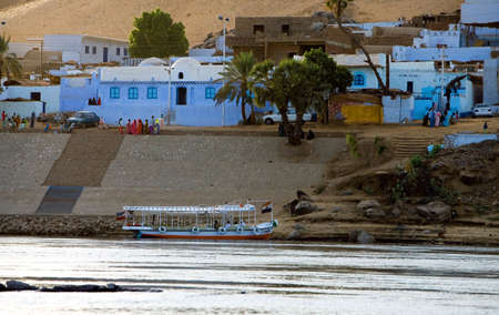 nile river: Egypt, Aswan, a Nubian village on the Nile river bank