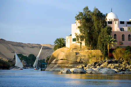 nile river: Egypt, Aswan, feluccas sailing on the Nile river in the town outskirts