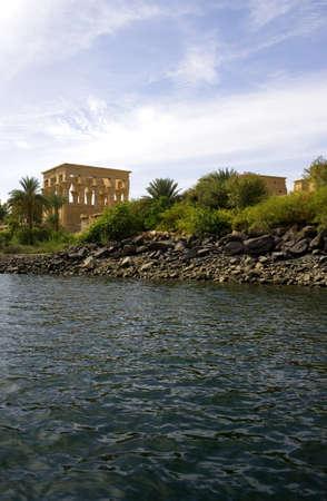 the nile: Egypt, Aswan, the Philae temple on the Nile rivarbank
