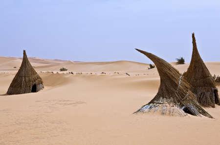 Libya,Sahara desert,a tuareg village in the Ubari lakes area Stock Photo