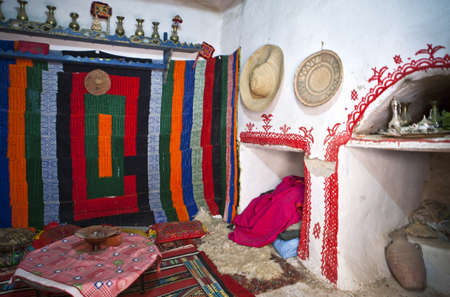 libya: Ghadames, Libya - April 21, 2009: Traditional decoration of a Berber house in the old medina