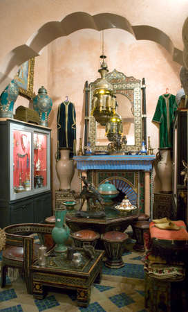 antique shop: Marrakech, Morocco - March 22, 2006: An antique shop in the Medina quarter