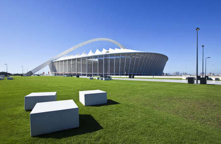 stadium  durban: Durban, South Africa - March 9, 2010:  World Cup 2010, the Moses Mabhida stadium with a  capacity of 70.000