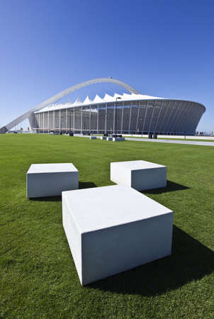 Durban, South Africa - March 9, 2010:  World Cup 2010, the Moses Mabhida stadium with a  capacity of 70.000