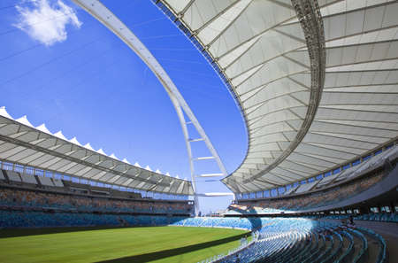 stadium  durban: Durban, South Africa - March 11, 2010:  World Cup 2010, the Moses Mabhida stadium with a  capacity of 70.000