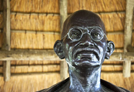 Durban, South Africa - March 10, 2010: Detail of the Gandhi's monument in Sarvodaya quarter