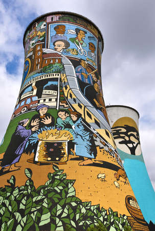 Soweto, South Africa - march 15, 2010: The famous painted cooling tower of a disused coal power plant