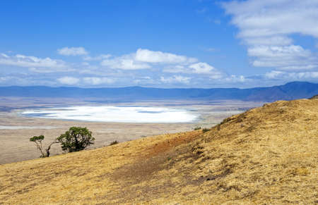 crater lake: Tanzania, Ngorongoro National Park,  the salt lake in the crater