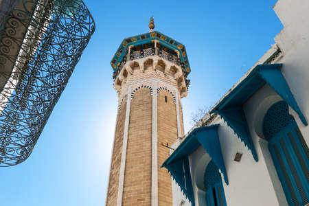 octagonal: Tunisia, Tunis, the Sidi Youssef mosques octagonal shaped minaret Stock Photo
