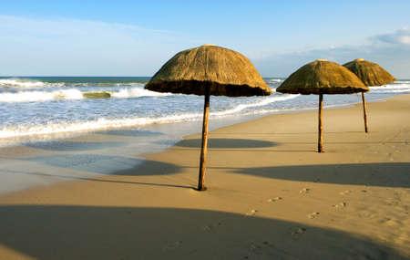turistic: Tunisia, Hammamet, umbrellas on the beach of the turistic area of Yasmine