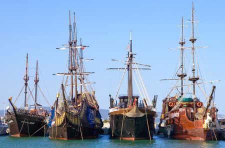 turistic: Hammamet, Tunisia - May 4, 2007: Old galleons in the sea turistic area of Yasmine