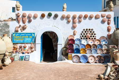 Djerba, Tunisia - April 17, 2008: The entrance of a ceramics shop