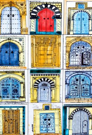 sidi bou said: Sidi Bou Said, Tunisia - April 26, 2006: Traditional products in a shop of ceramic works,