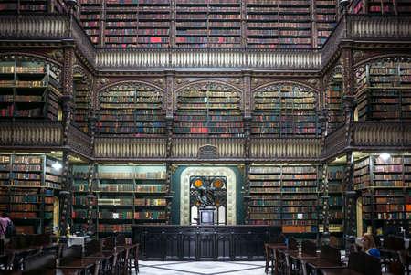 Rio De Janeiro, Brazil - September 5, 2013: The library Real Cabinete Portugues De Leitura, in the old city center
