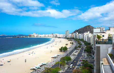 Rio De Janeiro, Brazil  - September 6, 2013: Panoramic view of Copacabana beach