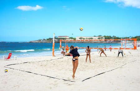 Rio De Janeiro, Brazil  - September 6, 2013: Girls playing volley-ball in Copacabana beach Editorial